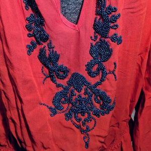 Moda International Tops - 💯 % silk, beaded top